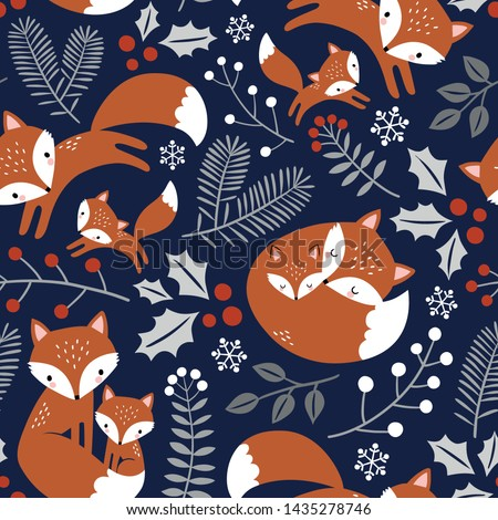 Seamless vector pattern with cute hand drawn fox family, leaves and snowflakes. Perfect for textile, wallpaper or print design.