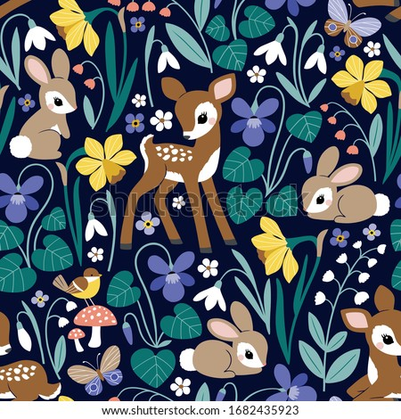 Seamless vector pattern with cute vintage deers and rabbits on spring floral background. Perfect for textile, wallpaper or print design.