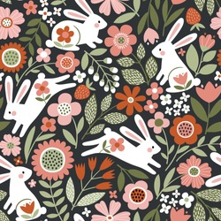 Seamless vector pattern with cute, white rabbits on floral background. Perfect for textile, wallpaper or print design.