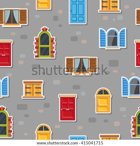 Seamless vector pattern with different color doors and windows with shutters on a gray brick wall. Cartoon building illustration. Cute house elements. European street