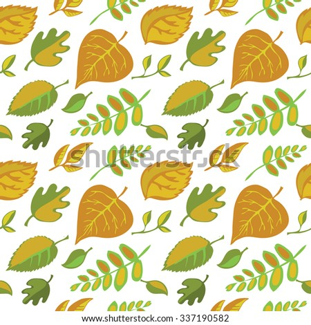 Seamless vector pattern with different types of autumn leaves. Stock fotó ©