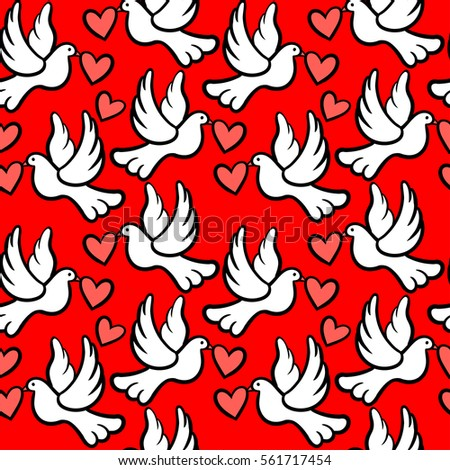 Seamless vector pattern with doves and hearts.