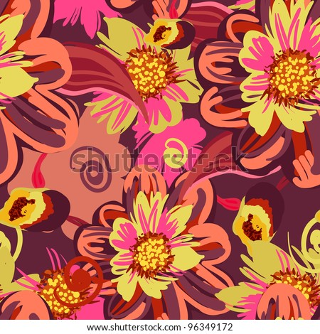 Seamless vector pattern with drawing flowers