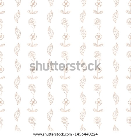 Seamless vector pattern with drawn flowers and leaves. Drawn by hand in the style of the doodle. For wallpapers, backgrounds, design, packaging, textiles, factories,prints, manufactures, manufactures