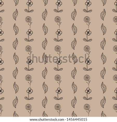 Seamless vector pattern with drawn flowers and leaves. Drawn by hand in the style of the doodle. For wallpapers, backgrounds, design, packaging, textiles, factories, prints, manufactures, manufactures