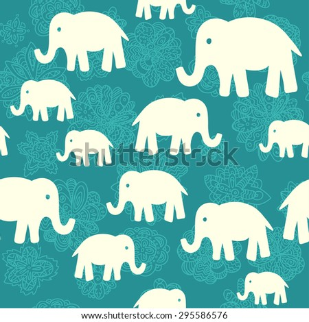 Seamless vector pattern with elephants. Can be used for textile, website background, book cover, packaging.