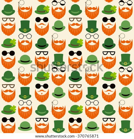Seamless vector pattern with faces in hats. St. Patrick's Day texture print.