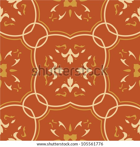 Seamless vector pattern with floral motifs on gradient background.
