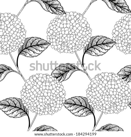 Seamless vector pattern with flowers hydrangeas.  Black and white background. Seamless pattern can be used for wallpapers, fabric, pattern fills, web page backgrounds, surface textures.