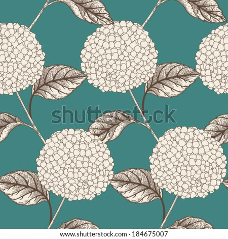 Seamless vector pattern with flowers hydrangeas. Seamless pattern can be used for wallpapers, fabric, pattern fills, web page backgrounds, surface textures.