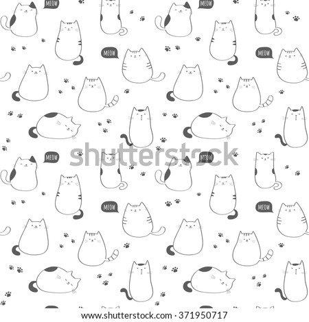 Seamless vector pattern with funny cute cats
