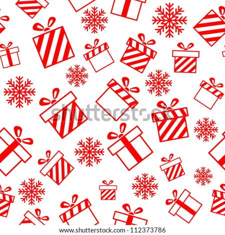 Seamless vector pattern with gift boxes and snowflakes EPS8