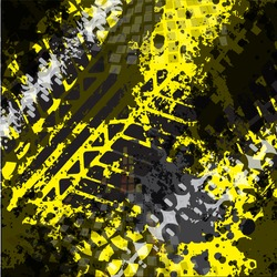 Seamless vector pattern with Grunge Tire Tracks on yellow background. pattern for boy