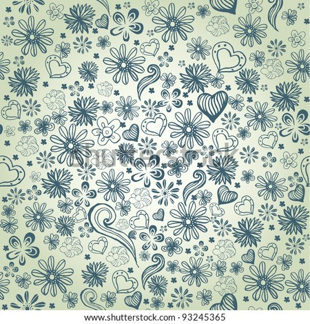 seamless vector pattern with hand drawn flowers. EPS 8
