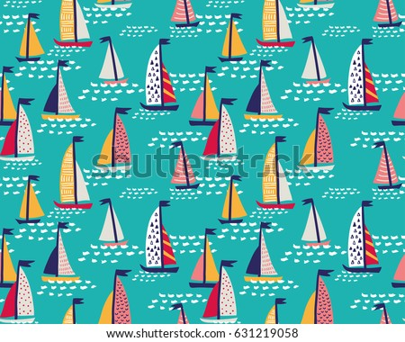 Seamless vector pattern with  hand drawn sailing yachts. Summer  bright background.