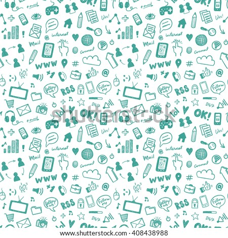 Seamless vector pattern with hand drawn social media icons