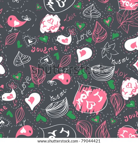 Seamless vector pattern with hearts and birds Love
