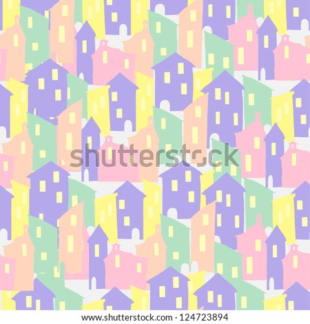 seamless vector pattern with houses