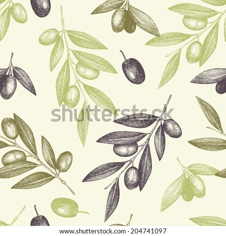 Seamless vector pattern with ink hand drawn olive tree twigs. Vintage olive background