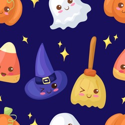 Seamless vector pattern with kawaii Halloween Characters. Cute characters illustration for wrapping paper, postcard, background, party, bakery decoration. Witch Hat, Broom, Corn Candy, Ghost, Pumpkin.