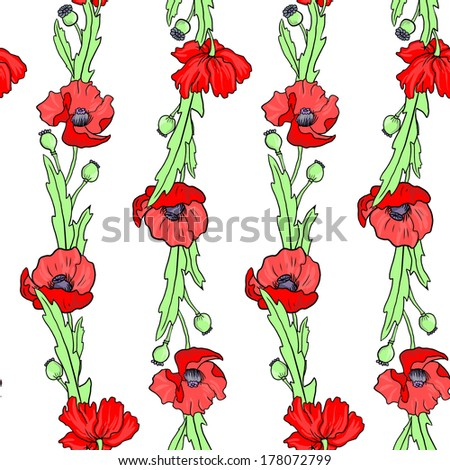 seamless vector pattern with linear drawing poppy flowers, hand drawn vector illustration