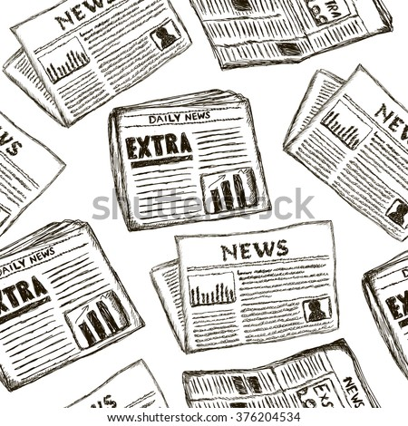 Seamless vector pattern with newspapers. Creative  hand drawn texture on white. Line drawing background