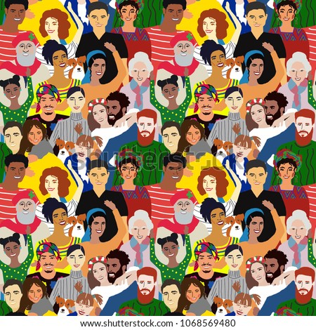 Seamless vector pattern with people of different nationalities