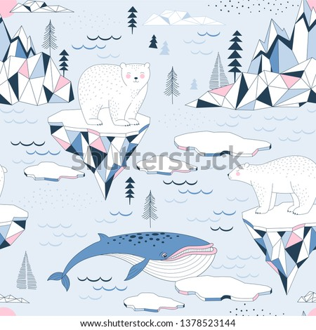 Seamless vector pattern with Polar Bear Blue Whale Ocean Mountains Iceberg Blocks of Ice North Landscape elements. Arctic Wildlife background. North Pole print. Antarctic Nature in Scandinavian style