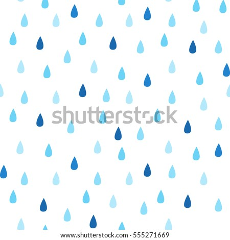 Seamless vector pattern with rain drops. Spring abstract background in shades of blue.