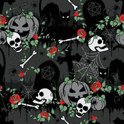 Seamless vector pattern with red roses in Halloween graveyard. Gothic wallpaper design with pumpkins and cat on grey background. Scary holiday fashion textile.