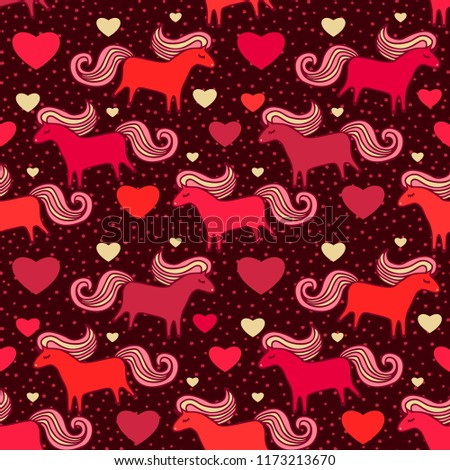 Seamless vector pattern with red scandinavian horses and golden hearts