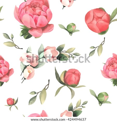 Seamless vector pattern with red watercolor flowers and leaves