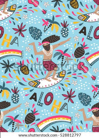 Seamless vector pattern with  surfer and ornamental phrase - ALOHA -  on the blue background. Seamless bright tropical design.