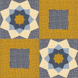 Seamless vector pattern with textured square flower patchwork on blue background. Decorative gypsy boho wallpaper design. Vintage floral quilt fashion textile.