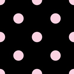 Seamless vector pattern with tile pink polka dots on black background