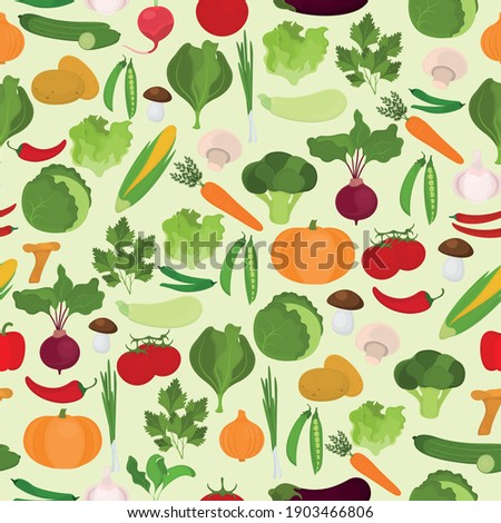 Seamless vector pattern with vegetables on a light green background.