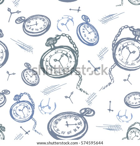 Seamless vector pattern with vintage clocks on a white background
