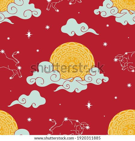 Seamless vector pattern with zodiac Taurus sky on bright red background. Chines year wallpaper design with moon. Asia culture fashion textile. Photo stock ©