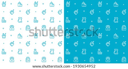 Seamless vector patterns of milk icons. Milk background, monochrome icons, background of farm products. Cartoon pattern. Template for packaging dairy products. Yogurt, organic products. Foto stock ©