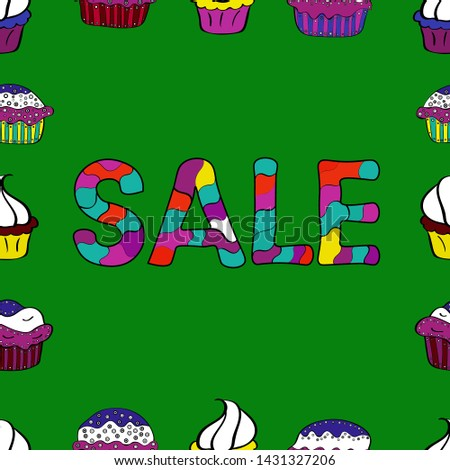 Seamless. Vector. Picture in green, purple and black colors. Banner clearance sale.