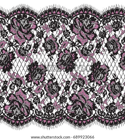 Seamless Vector Pink And Black Lace Pattern