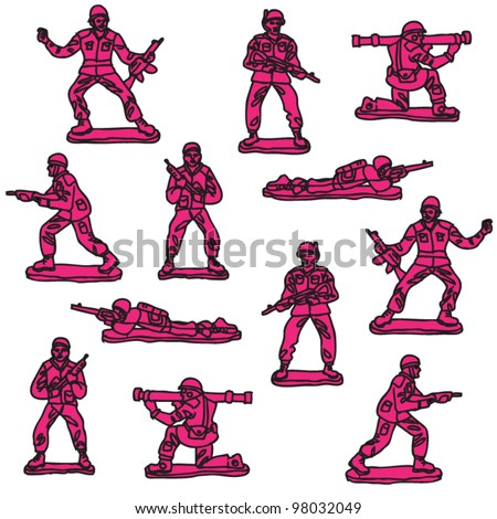 seamless vector pink toy soldiers pattern - stock vector