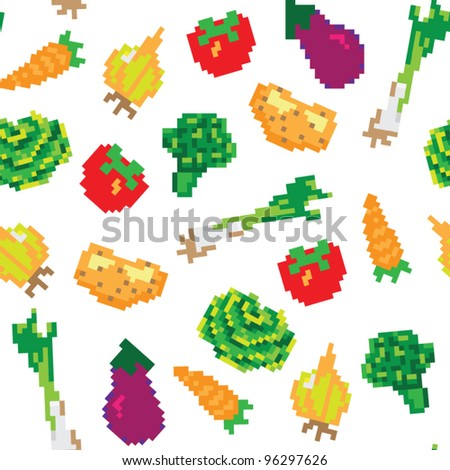 seamless vector pixel vegetables