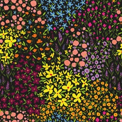 seamless vector repeat, ditsy floral pattern with abstract flowers in rainbow colours on a black background, perfect for fabric, textiles, wallpaper