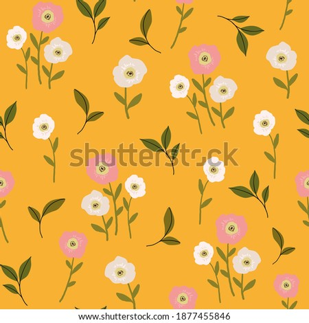 seamless vector repeat pattern with abstract floral elements and leaves on a yellow background perfect for fabric, wallpaper Stockfoto ©