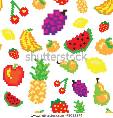 seamless vector retro pixel game fruits pattern