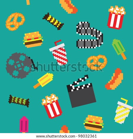 seamless vector retro pixel game movies pattern