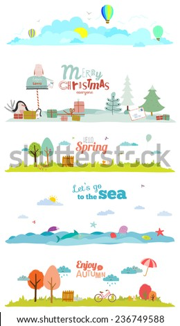 seamless vector seasons banners