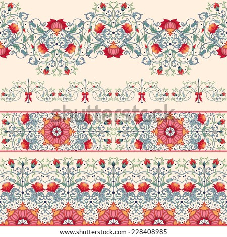 Seamless vector set of five borders Pattern with fantasy flowers and leaves