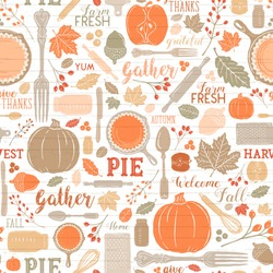 Seamless Vector Shiplap Autumn Leaves & Pumpkin Apple Pie Baking Pattern in Warm Bright Fall Colors. Great for backgrounds, stationery, home decor, textiles, fabrics, greeting cards, & paper crafting.